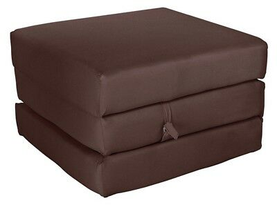 New Colourmatch Single Bed Spare Guest Pouffe Mattress Cube Chocolate Cushion