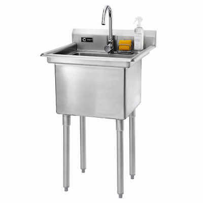 TRINITY TSL-0301 Stainless Steel Utility Sink with Faucet