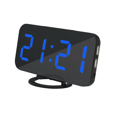 LED Digital Snooze Alarm Clock with USB Charge Port for Phone Charger Blue