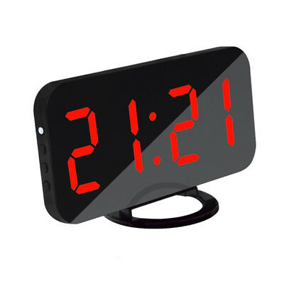 LED Digital Snooze Alarm Clock with USB Charge Port for Phone Charger Red