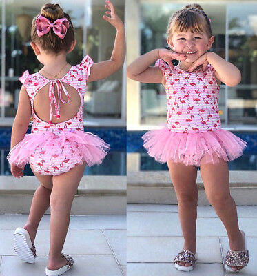 Newborn Baby Girls Flamingo Swimwear Swimsuit Romper Dress Beachwear US Stock