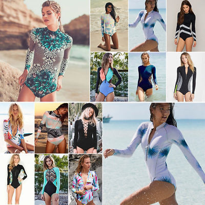 2018 Women Long Sleeve One Piece Swimsuit Tropical Print Monokini Sporty Surfing