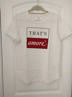 5413d204b NWT Anthropologie Sol Angeles THAT's AMORE' Graphic Tee Shirt Size M  Off-White