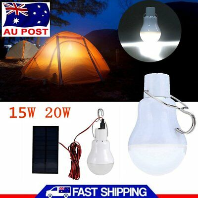 15W 20W Portable Solar Powered Panel LED Bulb Light Emergency Lamp Camping AU