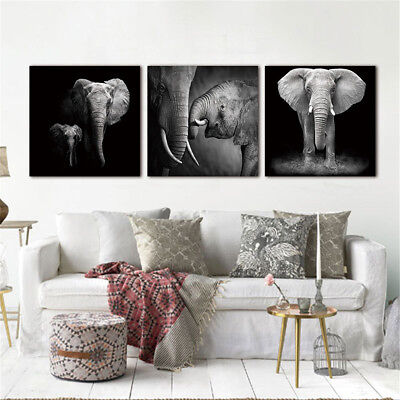 3Pcs Modern Art Elephant Canvas Oil Painting Picture Print Home Wall Decor New