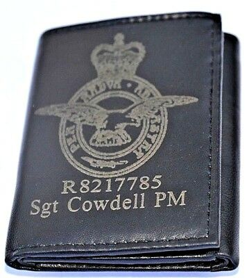 Royal Air Force Uk Army Personalised Genuine Leather Wallet With Any Name & No.