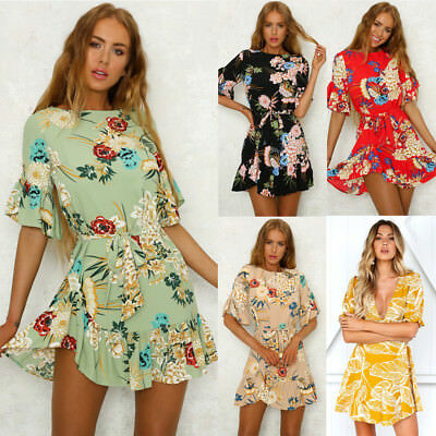 Fashion Women Spaghetti Strap Floral Print Beach Style Skater A Line Mini Dress