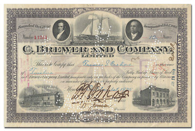RARE C. Brewer and Company Limited Stock Certificate (Historic Hawaiian Company)