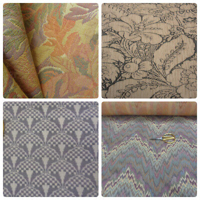 Vintage Cotton Upholstery Fabric Art Deco Geometric Tapestry Flamestitch Beige