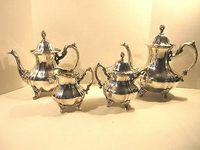 Antique Poole EPCA Lancaster Rose 400 Silver Plate Tea Coffee Teapot Set 4-pc