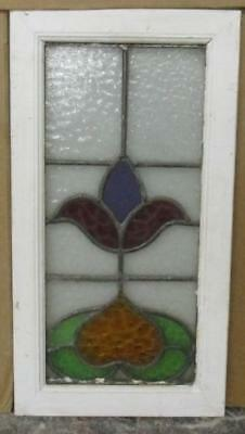"""OLD ENGLISH LEADED STAINED GLASS WINDOW Very Pretty Floral 11.5"""" x 21.5"""""""