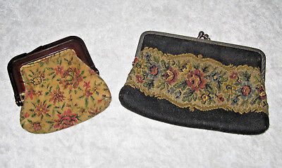 Vtg Pair Of Tapestry Coin Purses Metal Clasp And Plastic Clasp Good Condition
