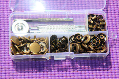 30 Sets 15mm/17mm Heavy Duty Poppers Brass Snap Fasteners w/ 831 Fixing Tools