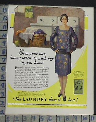 1928 Laundry Clothes Dry Clean Sink Housewife Home Decor Vintage Art Ad  Co98