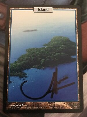 Mtg, Full-Art Island. Unhinged Basic Land. *Signed*