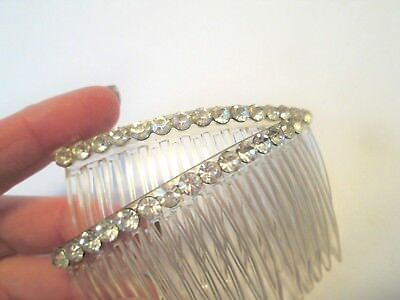 Pair Vtg 1950s Rhinestone Hair Combs Accessory Clear Plastic Updo Hairstyle