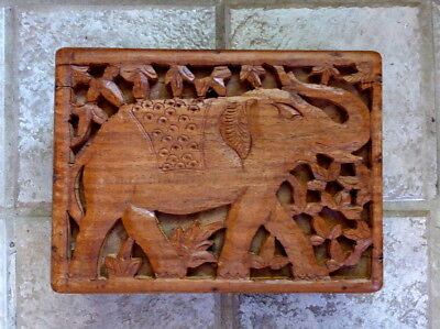 "Vintage Hand Carved ""Indian Elephant"" Wooden Box From India Jewelry/Trinket Box."