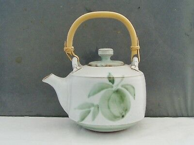 Briglin Studio Pottery Teapot Brushwork Apple Decoration Wooden Handle
