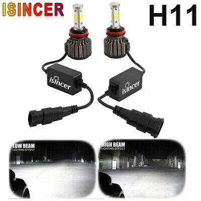 2x H11 H8 H9 4 Sides LED Headlight Canbus High Low Power 1800W 192000LM 6000K