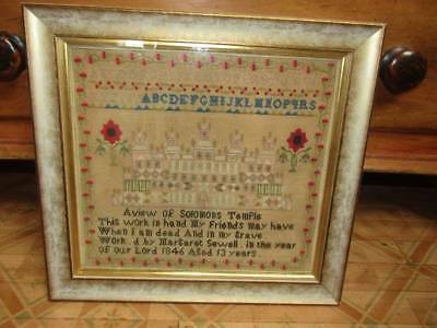 Antique Sampler Dated 1846 Solomons Temple