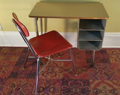 Vintage old School table / desk with shelves on casters & red school chair