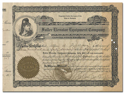 Fuller Elevator Equipment Company Stock Certificate Issued to Fuller (Alabama)