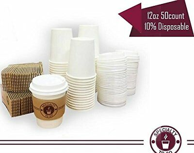 white Coffee cups paper to go hot 12 oz with lids and sleeve Disposable mug NEW