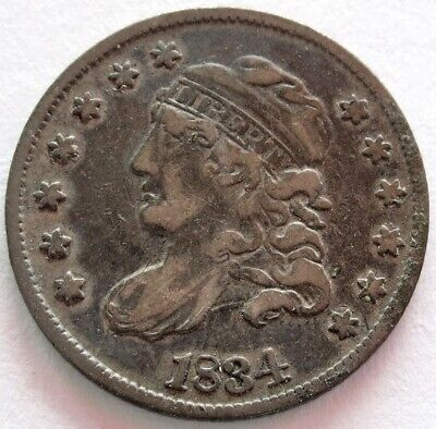 1834 Silver United States Capped Bust Half Dime Coin Very Fine Condition