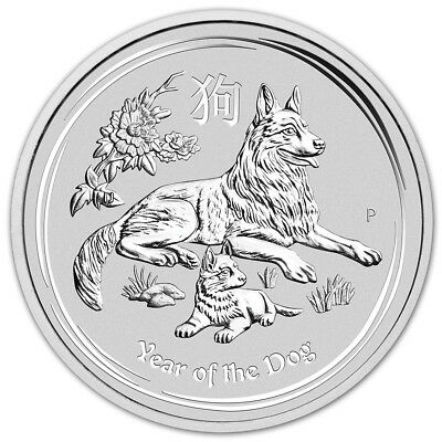 2018 P Australia Silver Lunar Year of the Dog 2 oz $2 - BU