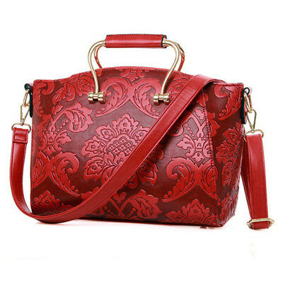Women Embossed Portable Shoulder Bag Classic Handbag Crossbody Bag