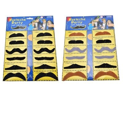Stick On Fancy Dress Fake Moustaches Tash Mustache Stag Hen Party Pack Black UK