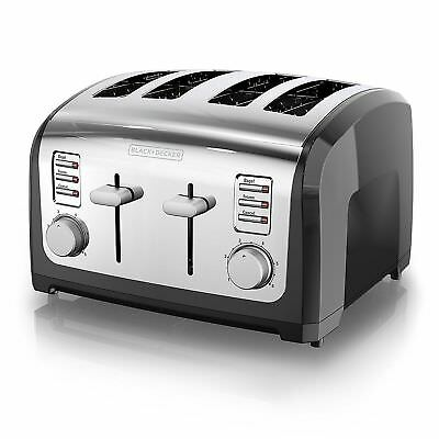 100% NEW Black & Decker 4 Slice Extra Wide Slot Bagel Bread Toaster T4030