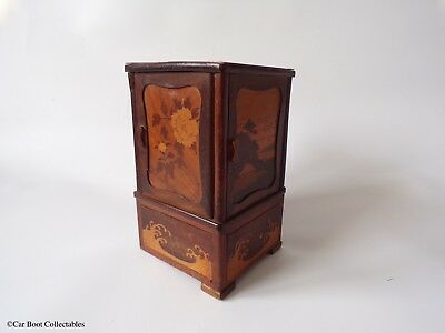 Antique Japanese Wooden Smoking / Cigarette Cabinet - Wooden / Marquetry Scenes