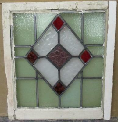 "MID SIZED OLD ENGLISH LEADED STAINED GLASS WINDOW Mystic Diamonds  21"" x 23.5"""