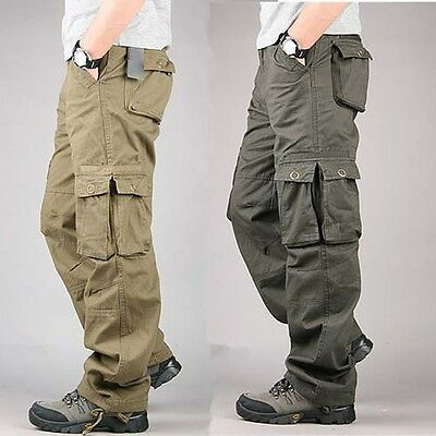 Mens Casual Overalls Loose Straight Cargo Pants Military Outdoor Trousers 30-40
