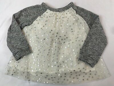 Baby Gap Size 4 Years White And Gray Star Tulle Overlay Long Sleeve Top Shirt
