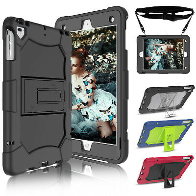 For iPad 9.7'' 6th Generation 2018 Case Shockproof Rugged Hard Stand Strap Cover