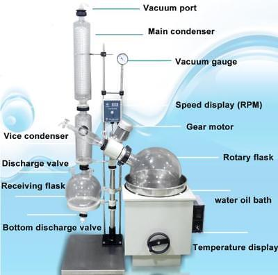 10L Lab Rotavap With Flasks with Water Oil Heat Bath for Vacuum Distillation