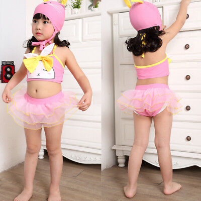 AU Infant Kids Baby Girls Swimwear Lace Up Swimsuit Bathing Bikini Suit Outfits