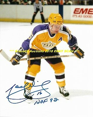 low priced 3d256 be52f MARCEL DIONNE ON FACEOFF Yellow Jersey Auto SIGNED 8x10 Photo LA KINGS HOF  GREAT