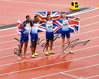 x4 Signed 16x12 Framed Photo Display Autograph Memorabilia Sporting British 100m Relay