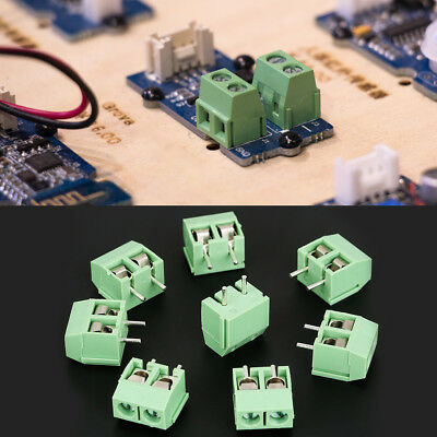 50pcs/set 2 Pin 5mm Pitch Green PCB Universal Screw Terminal Block Connector New