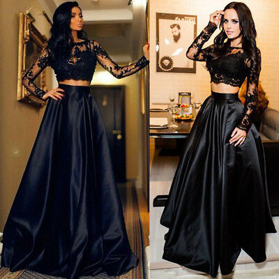 USA Women Lace Evening Party Ball Prom Gown Formal Cocktail Wedding Long Dress