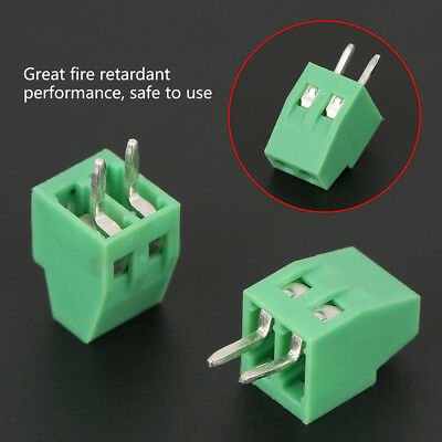 "50Pcs 2.54mm 0.1"" Universal 2 Pin 2 Poles PCB Screw Terminal Block Connector New"