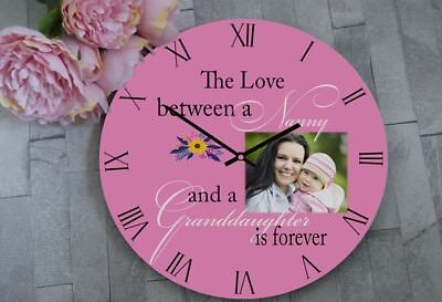 Personalised Nanny & Granddaughter Wooden Clock