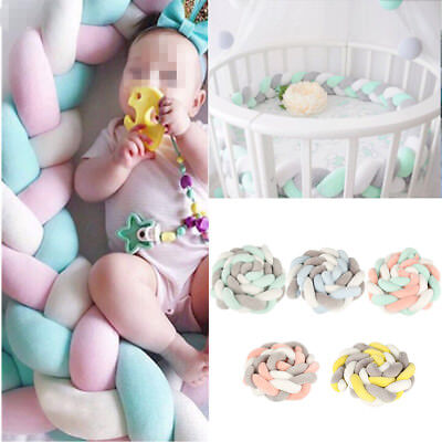 New 2M Baby Infant Plush Crib Bumper Bed Bedding Cot Braid Pillow Pad Protector
