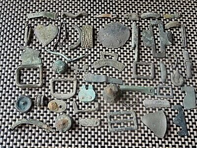 Lot Of 45 Authentic Roman And Byzantine Medieval Bronze Artifacts / Fragments