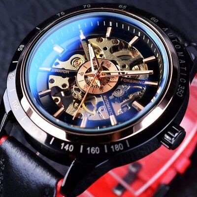Men's Luxury Automatic Mechanical Watches Waterproof Genuine Leather Wrist Watch