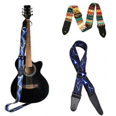 64'' Adjustable Guitar Strap Acoustic Bass Webbing Leather Ends High Quality