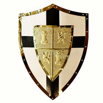 New Medieval Royal Crusader Knight Arms Cross Lion Heart Shield Replica #A6